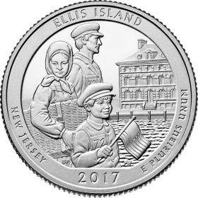 Национальный монумент острова Эллис (Нью-Джерси) 25 центов США 2017 Монетный Двор на выбор