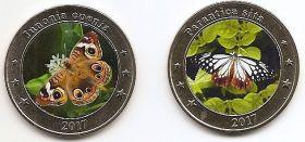 Набор Бабочки 1 доллар Западные Малые Зондские Острова 2017 (2 монеты)