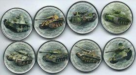 Танки набор монетовидных жетонов Зимбабве 2017 ( 8 монет) на заказ