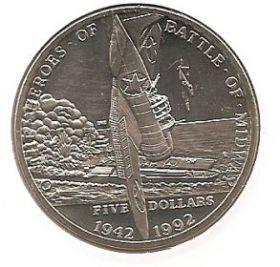 Военные герои - Герои битвы за Мидуэй 5 долларов Маршалловы Острова  1992
