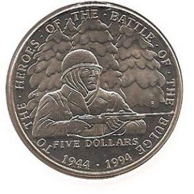 Военные герои - Герои Битвы в Арденнах 5 долларов Маршалловы Острова  1994