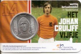 70 лет со дня рождения Йохана Кройффа 5 евро Нидерланды 2017