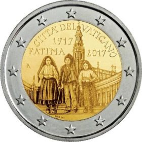 100 лет явлению Девы Марии в Фатиме 2 евро Ватикан 2017