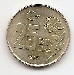 25.000 лир(Регулярный выпуск)Турция 1997
