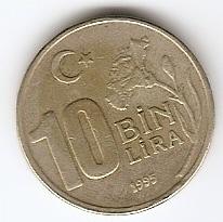 10.000 лир(Регулярный выпуск)Турция 1996