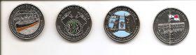 100 лет Панамскому каналу.Набор монет. 1/4 бальбоа Панама 2016 (4 монеты)