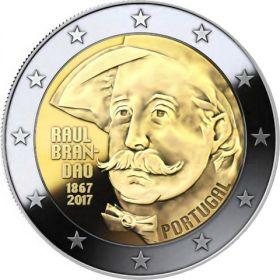 150 лет со дня рождения писателя Раула Брандана 2 евро Португалия 2017