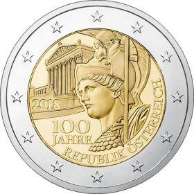 100 лет Австрийской Республике   2 евро Австрия 2018