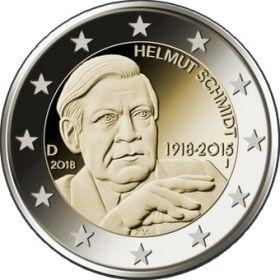 100 лет со дня рождения Гельмута Шмидта  2 евро Германия 2018 Монетный двор на выбор